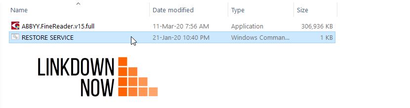 Chạy file Restore Service Finereader