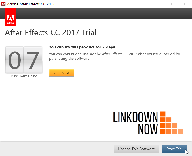 Start a trial After Effects 2017