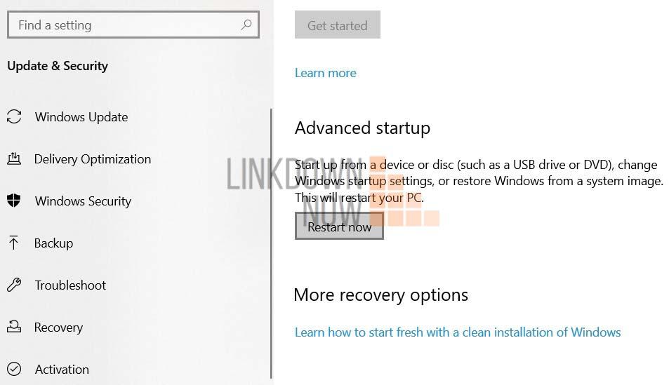 Trong Advance Startup bạn nhấp vào Restart Now