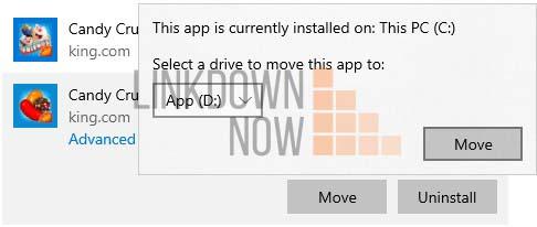 Di chuyển các ứng dụng và trò chơi đã cài đặt