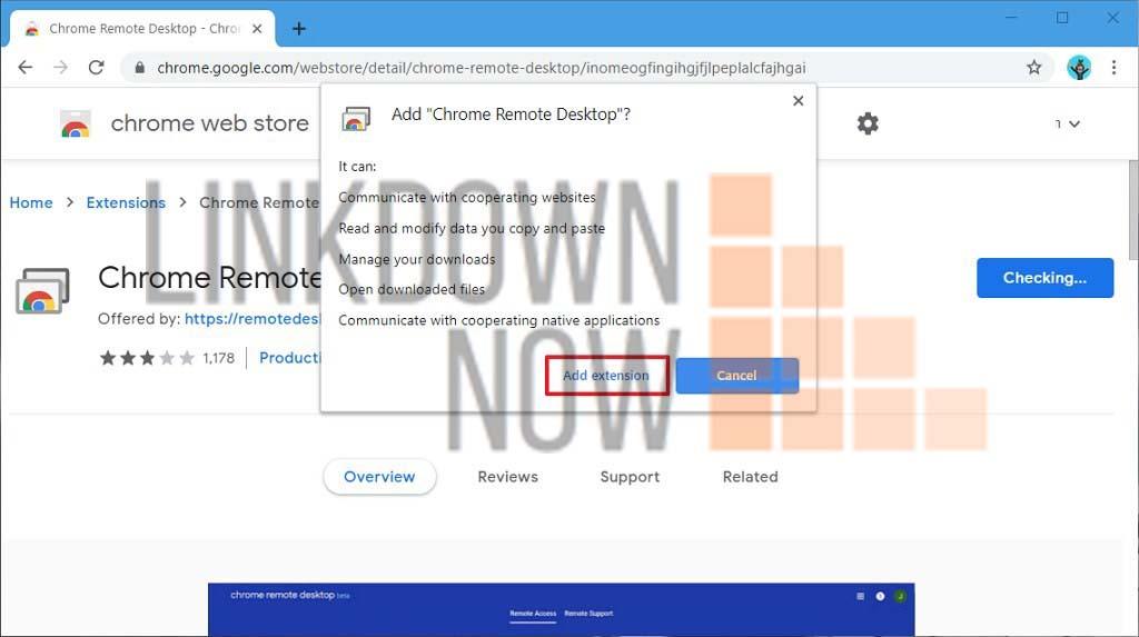Tiện ích mở rộng cài đặt Chrome Remote Desktop