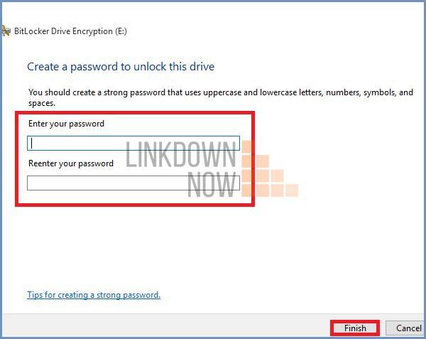 Nhập mật khẩu mới cho Bitlocker