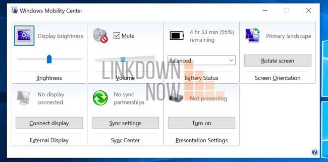 Sử dụng Windows Mobility Center