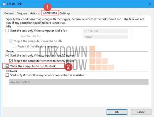 Nhấp vào hộp kiểm Wake the computer to run this task