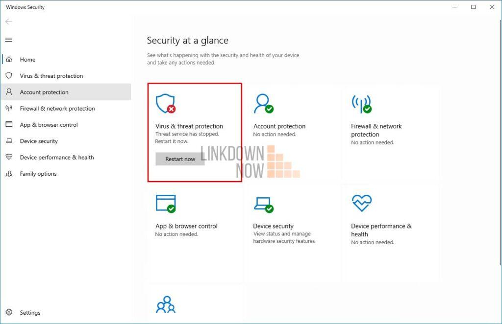 Tính năng Virus & threat protection đã bị vô hiệu hóa