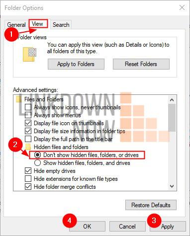 Tích chọn Don't show hidden files, folders, or drives