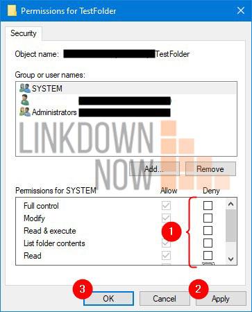Hoàn nguyên các thay đổi trong Permissions for TestFolder
